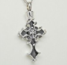 Silver and Black Cross Urn Necklace, Black Cremation Jewelry || Memorial