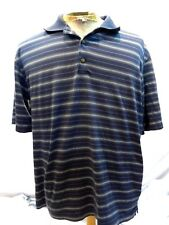 Pebble Beach Large Golf Men's Shirt Blue Stripe Polo Short Sleeve