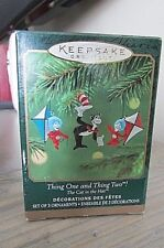 2001 Hallmark Miniature Ornament Thing One & Thing Two, Cat in the Hat-Set Of 3