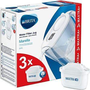 BRITA Marella MAXTRA+ 2.4L Water Filter Jug + 3 Month Cartridges Pack, White