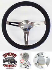 "1948-1959 GMC pickup steering wheel 15"" BLACK LEATHER muscle car"