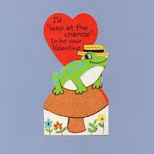 Vintage Valentine's Day Card VALENTINE Frog LEAP AT THE CHANCE Glitter 1960s