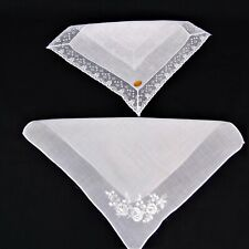 Vintage Linen Hankies Handkerchief Wedding Bridal Hostess White Lace Embroidered