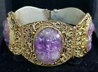 Antique Chinese Amethyst Gold Gilt Bracelet Filigree Panels /Amethyst Bracelet