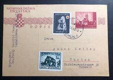 1943 Zemun Croatia Germany Stationery Postcard Cover To Zurich Switzerland #b51