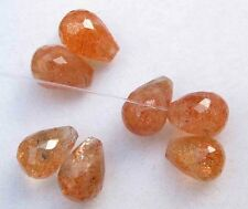 22.30Ct 100% Natural Sunstone Drops Beads Sunstone Smooth TearDrop Loose Gemston