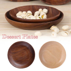 Wooden Round Plates Fruits Cake Tea Coffee Dessert Dish Food Serving Trays