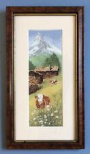 Completed Needlepoint CrossStitch Picture Alpine Valley Scene Cows In Meadow.
