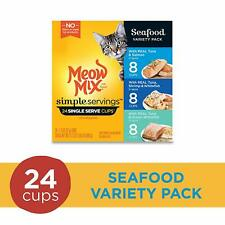 Meow Mix Simple Servings Wet Cat Food, (24)1.3 Ounce Cups,Seafood Variety Pack