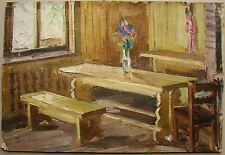 Russian Ukrainian Soviet Oil Painting country interior wooden bench realism