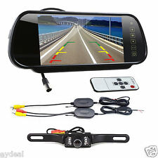 "7"" LCD TFT Color Screen Auto Car Rear View Mirror Monitor Reverse Backup Camera"