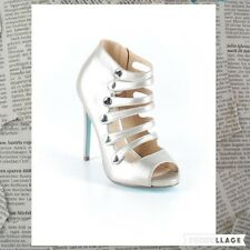 NIB Blue by Betsey Johnson High Heels Shoes 7 1/2  Silver Metal Color $129