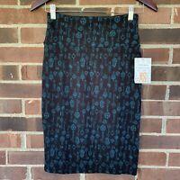 NWT LuLaRoe Cassie key print pencil skirt Women's Size US XS Regular