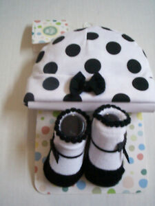 Baby Hat & Bootie Set By Little Me, 0-12 Months, B&W Polka Dot Design, Brand New