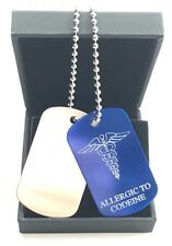 Personalised Allergic to Codeine Medical Alert ID Blue Silver Army Tags Boxed