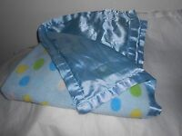 "SATIN BACK TRIM BABY  LOVEY BLANKET BLUE SATIN DOTS WHITE YELLOW GREEN 24"" LOVEY"