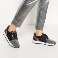 Exclusive Karl Lagerfeld x Falabella Kaya Sneakers Sz 4 - 8 Leather Black Shiny