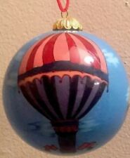 Hot Air Balloon Art Reverse Painted Blown Glass Ball Ornament Vintage Ornate
