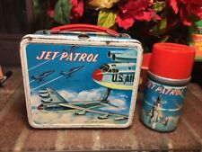 WOW! Vtg. 1957 Jet Patrol Metal Lunchbox W/ Matching Steel/Glass Thermos RARE VG