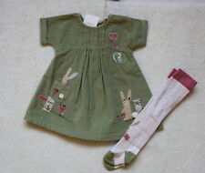 ***BNWT Next baby girl Green Bunny cord dress and tights set 3-6 months***