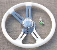 "steering wheel 4 spoke Classic White 18"" wood rim for Peterbilt KW FL 3 hole"