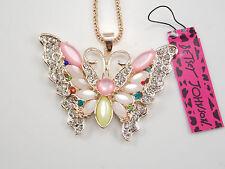 Betsey Johnson  Cute shiny Rhinestone Opal Butterfly Pendant Necklace # F148