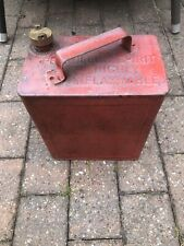 Vintage c1960's Valor Red Fuel Petrol Can - 1 Gallon Brass Lid