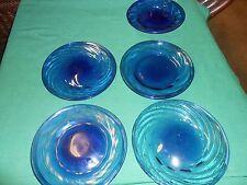 "Great set of 4 COBALT  ""Swirl"" Design Glass BREAD-SALAD-DESSERT Plates & 1 FREE"