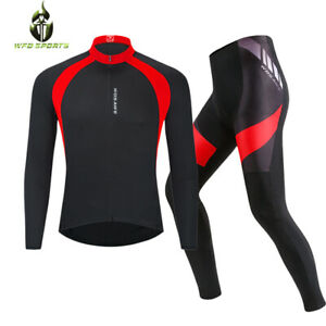Men's Cycling Jersey Trouser Set Tights Padded Bike Bicycle Clothing Long Sleeve
