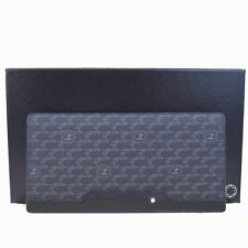 Authentic MONTBLANC Long Bifold Wallet Purse PVC Leather Black Italy 09F567