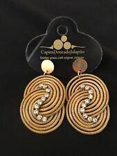 Brazilian Golden Grass Rhinestone Earrings/Organic Jewlery/Capim Dourado