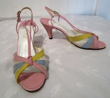 Vintage 1970'S Jack Rogers Pastel Peep Toes, By Evelyns Shoes, Lovely 7 1/2 B