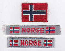 SCOUTS OF NORWAY - NORGE SCOUT NATIONAL FLAG EMBLEM & STRIP PATCH SET OF 3