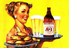RETRO PINUP GIRL QUALITY CANVAS Print Poster Gil Elvgren Sexy Waitress 45cm