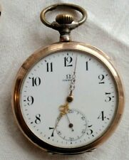 ANTIQUE OMEGA POCKET WATCH SILVER 800  AND GILTED .  DIAM 5 CM  Working.