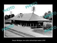 OLD LARGE HISTORIC PHOTO OF STURGIS MICHIGAN, THE RAILROAD DEPOT STATION c1920