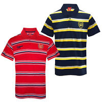 Arsenal FC Official Football Gift Mens Striped Polo Shirt