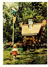 1958 Russian postcard TO FIND FAIRY TALES Girl goes to the hut on chicken legs