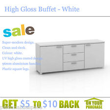 High Gloss Buffet - White Housekeeping Bedroom Organisers Living Storage