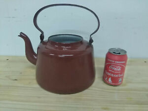 Vintage Brown Kettle Enameled Iron TeaPot From 60´s rustic coffee Pot pretty
