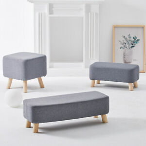 Square/Rectangle Grey Fabric Footstool Sofa Ottoman Foot Rest Stool Pouffe Seat