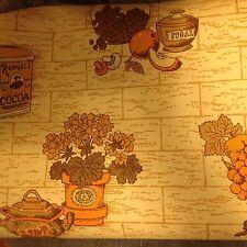 VINTAGE 60s 70s KITCHEN BRICK DESIGN SPICE WALLPAPER - GOLD YELLOW ORANGE BROWN
