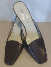 Bandolino Dark Brown Leather Jadee Slide Mule Loafer Heel Women's size 9.5 M