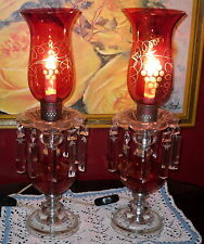 2 Cranberry Red Lamps Lights Boudoir Grapes Crystal Prisms Chandelier Etched