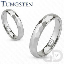 4mm Tungsten Carbide Wedding Engagement Bridal Band Multi-Faceted Prism Cut Ring