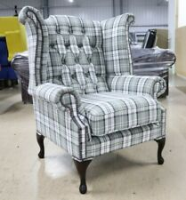 GEORGIAN CHESTERFIELD QUEEN ANNE HIGH BACK WING CHAIR PIAZZA GREY FABRIC