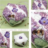 Faby Reilly - LILAC BISCORNU - Pincushion Chart with Lilacs and Bees
