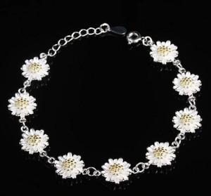 Daisy Chain Bracelet Silver 925 Plated Sterling Bangle Flower Jewellery Sun Gift