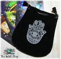 """HAMSA HAND Black Velvet Pouch 5""""x4"""" Drawstring Bag Wicca Witch Tarot Jewelry"""