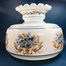 """Vintage Milk Glass Art Nouveau Style Motif 6 7/8"""" Fitter Blue Paint Lamp Shade"""
